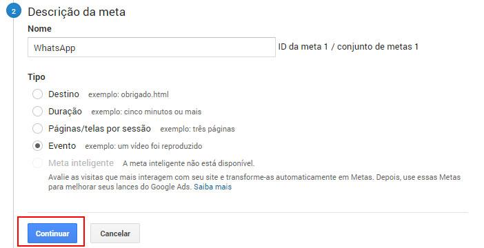 Metas WhatsApp Google Analytics